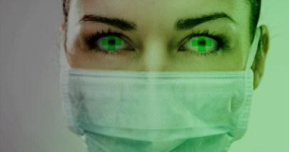 Surgeon wearing surgical mask