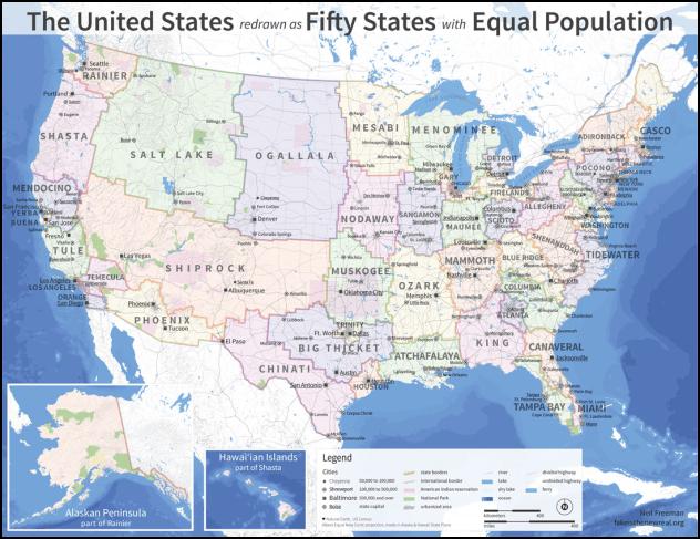 Equal Population US States