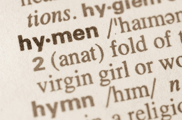 Dictionary definition of word hymen