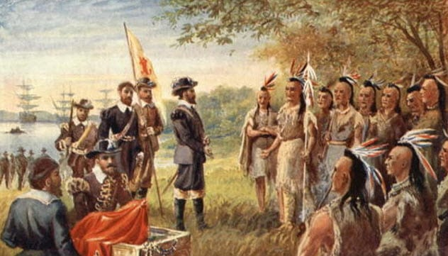 jamestown colonists and powhatan indians meet the white man