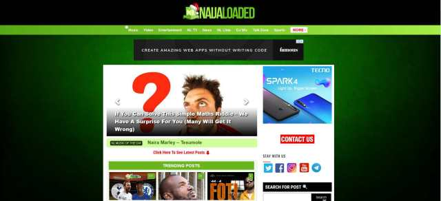 Naijaloaded.com.ng is the second most Visited music download website in Nigeria