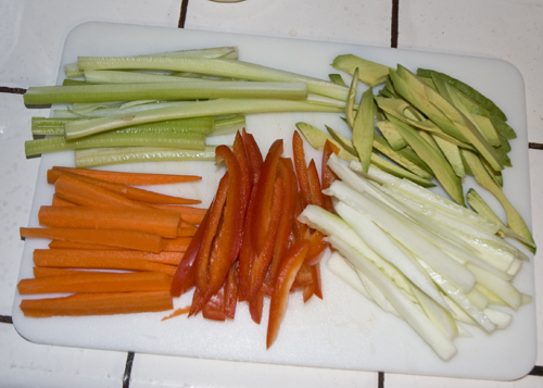 Chopped vegetables for veggie sushi