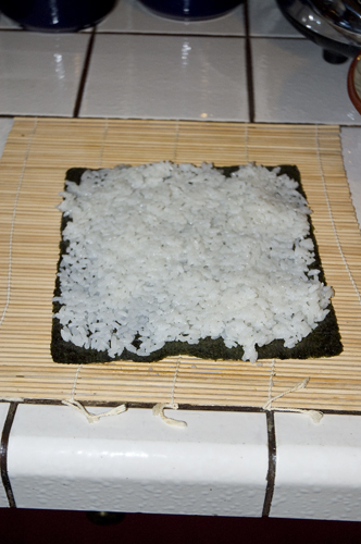 Sushi rice on Dried Seaweed