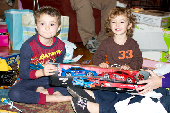 Hunter & Westly with their presents