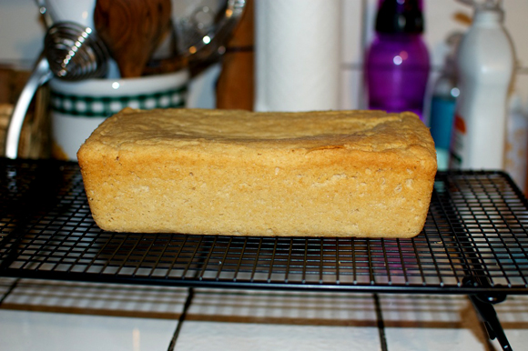 vegan poundcake cooling on rack