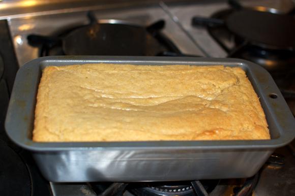 cooked vegan poundcake in pan
