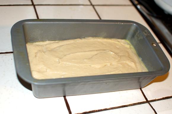vegan poundcake batter in loaf pan