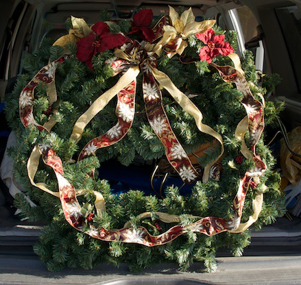 large decorated Christmas wreath