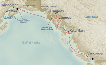 map of our Alaskan Cruise