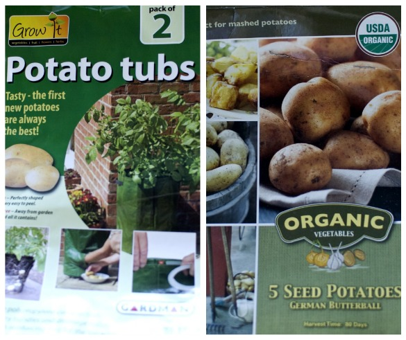 potato tubs and see potatoes