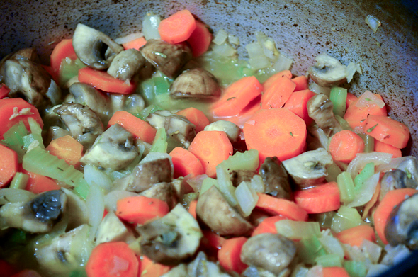 chopped veggies cooking to become tender
