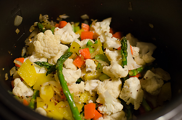 and noticed I had some cauliflower and asparagus too, so I tossed them in