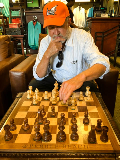 playing chess at Pebble Beach