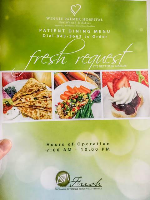 Winnie Palmer Hospital menu