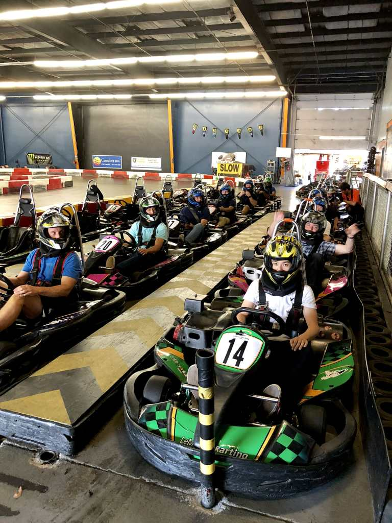 The whole gang in GoKarts