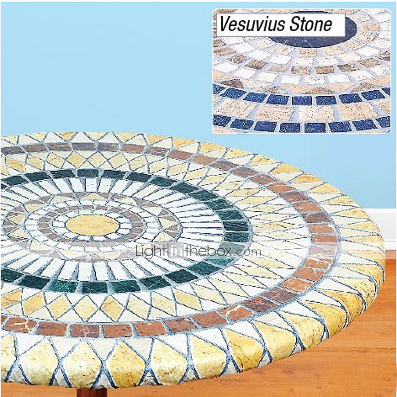 Fitted Mosaic Table Cover Mosaic Tuscan Tile Design Table Go Round Tablecloth Patio Table Cover