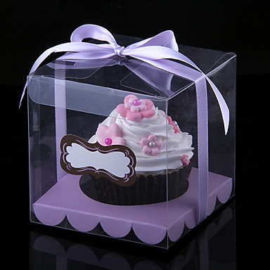 Lovely Cubic PVC Cupcake Wrapper And Boxes With Ribbon