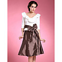 A-line V-neck Half-Sleeve Knee-length Taffeta Mother of the Bride Dress