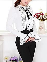 Mulheres Camisa Casual Simples Primavera / Outono,Sólido Branco Poliéster Gola Frufru Manga Longa Opaca / Fina