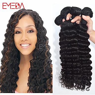 4pcs lot peruvian virgin hair deep wave human hair extensions natural black curl hair 8 30