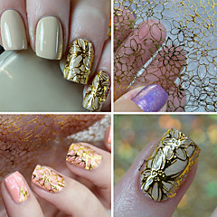 1 Sheet Embossed 3d Nail Stickers Blooming Flower Art Decals