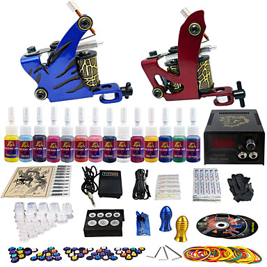 solong tattoo plete tattoo kit 2 pro machine guns 14 inks power supply needle grips