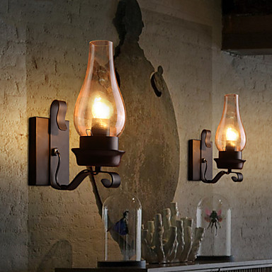 Retro Rustic Nordic Glass Wall Lamp Bedroom Bedside Wall ... on Rustic Wall Sconces id=74701