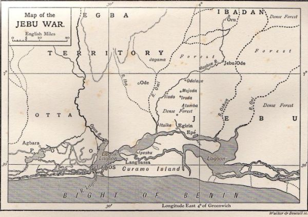 Map of Ijebu War, Imagbon