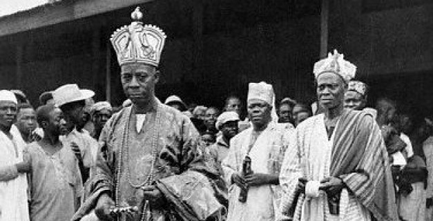 The Akarigbo of Ijebu-Remo at a conference of chiefs of the Western Provinces at Mapo Hall.