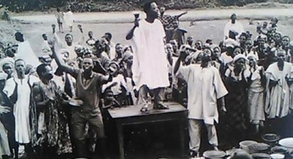 The Great Revival started in 1930, here Apostle Ayo Babalola of CAC is shown preaching in the late 1930s