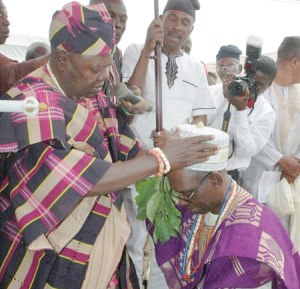 "A University don's investiture as ""Asiwaju of Okeho"" by the Oyo state town, Okeho's monarch. Photo: The Nation"