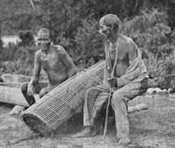 Fishermen and trap at Olokemeji. 1910, Source:  Nigeria Nostalgia