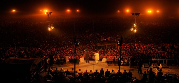 Half of Nigeria's population are believed to be Christians. Here, a mammoth crowd in Mubi listen to German evangelist, Reinhard Bonnke teach, 2009.
