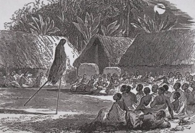 Life in ancient Abeokuta. Night entertainment in Abeokuta c 1879