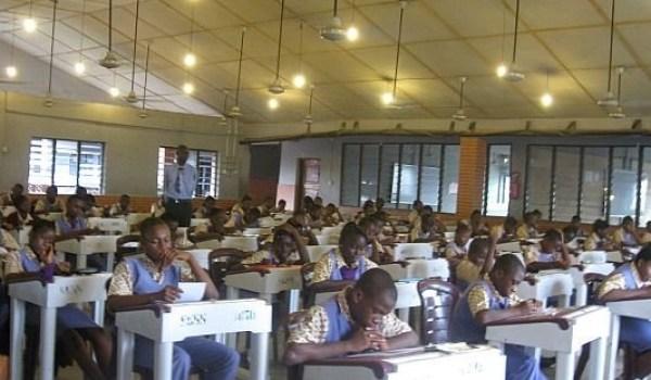 Examination in session in of Solomon Grace's school halls