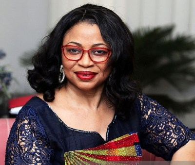 Billionaire Folorunsho Alakija, Africa's richest woman, poses for a photograph following a Bloomberg interview in Lagos, Nigeria, on Friday, Sept. 11, 2015. XXXSecond sentence hereXXX. Photographer: George Osodi/Bloomberg *** Local Caption ***  Folorunsho Alakija