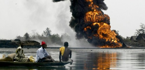 People find refuge after a blowing up of Shell pipeline by militants in 2005.