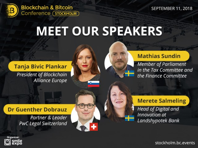 Meet the speakers at the Blockchain & Bitcoin Conference Stockholm