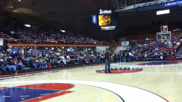 Litefoot speaking to thousands gathered at the Lakota Nation Invitational in Rapid City