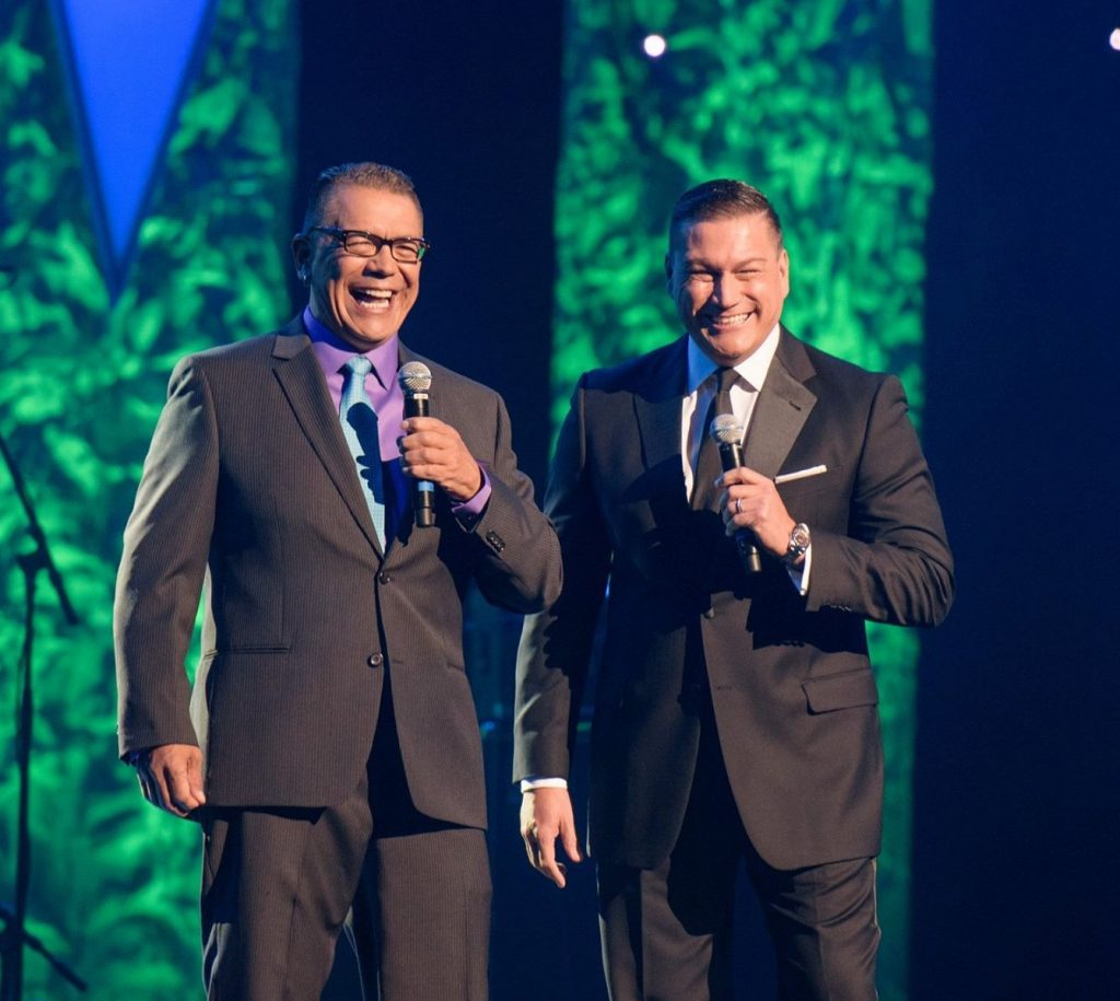 "Gary ""Litefoot"" Davis and Lorne Cardinal host the 2015 Indigenous Music Awards. Photo: Mike Sudoma Photography"