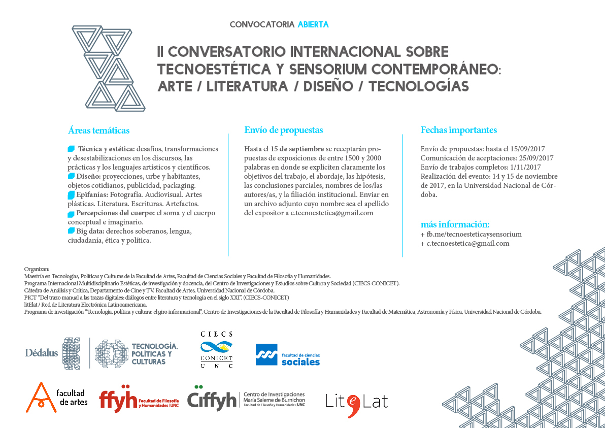 II Conversatorio Internacional sobre Tecnoestética y Sensorium Contemporáneo: arte / literatura / diseño / tecnologías