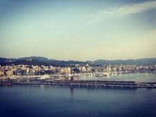 Good morning Palma. Utsikt från båten innan ilandstigning.