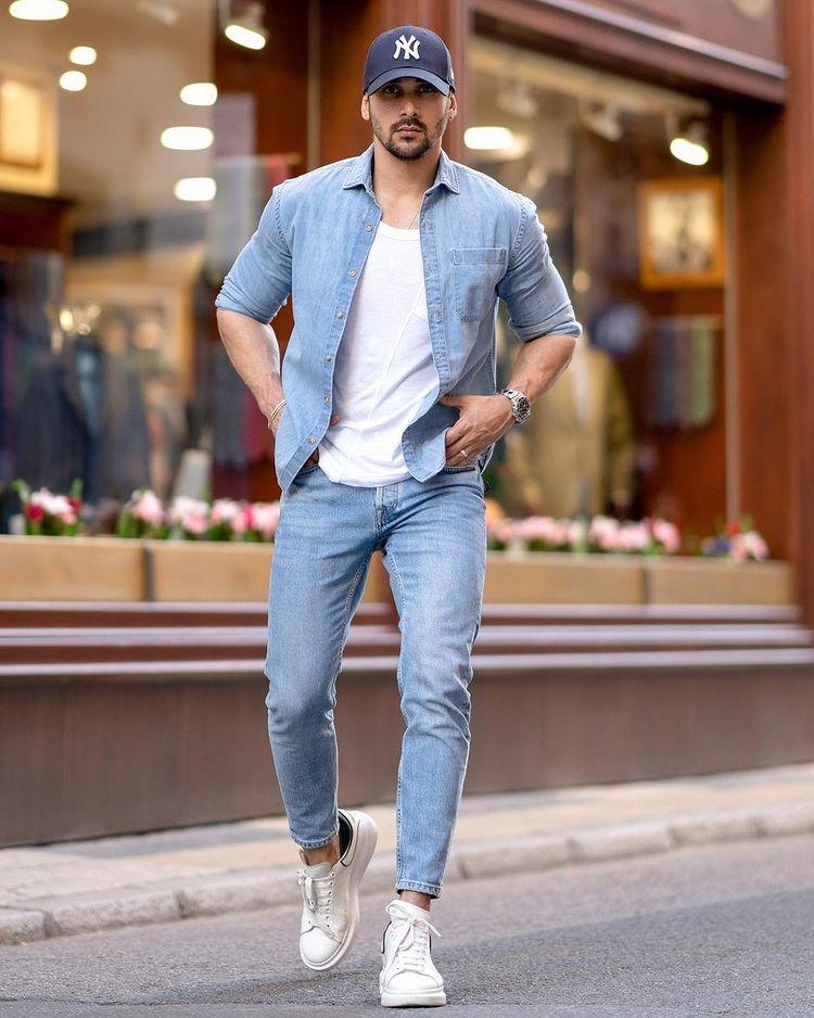 30代メンズに似合うダンガリーシャツメンズコーデ