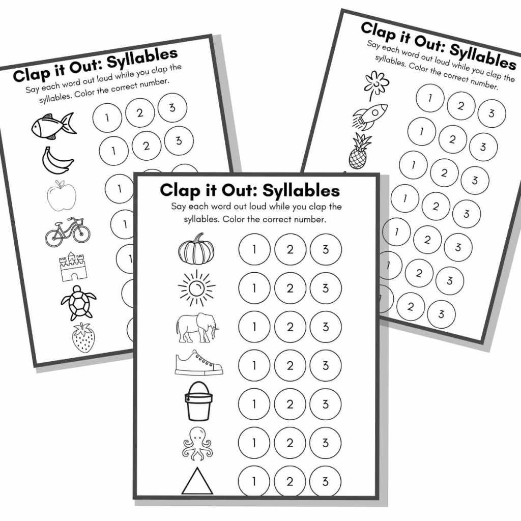 Three pages of the printable clap counting syllables worksheets.