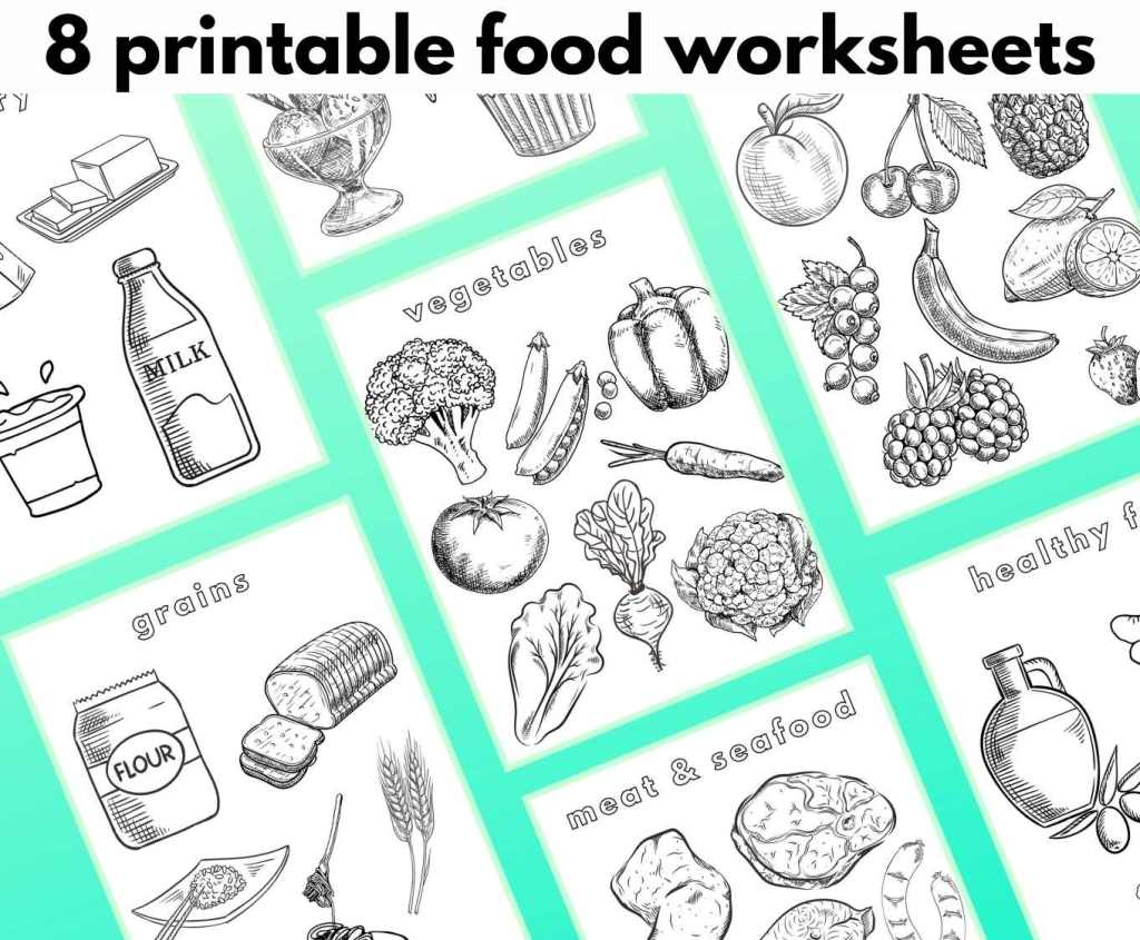 """Graphic showing the printable coloring pages on an angle over a gradient green background with the large text that reads, """"8 printable food worksheets."""""""