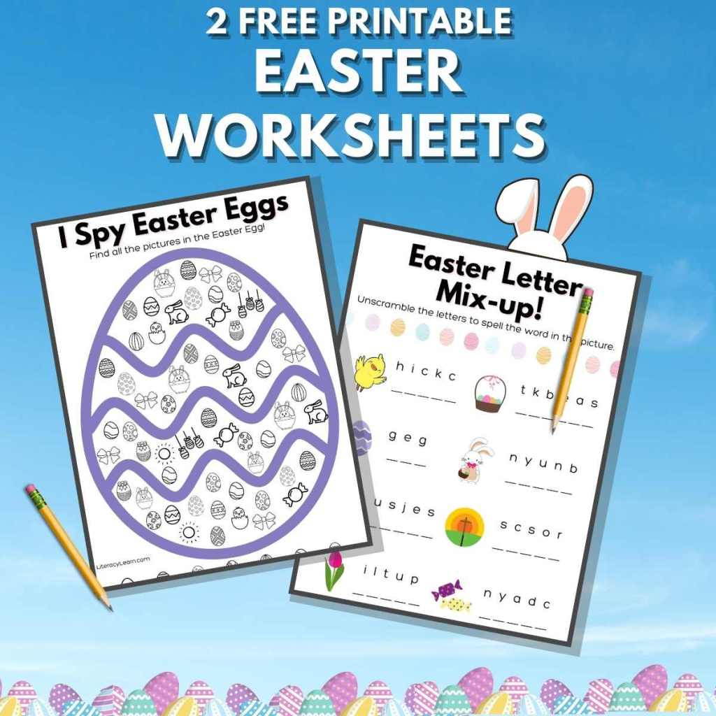 """Two worksheets on a blue background with the words """"2 Free printable Easter Worksheets."""""""
