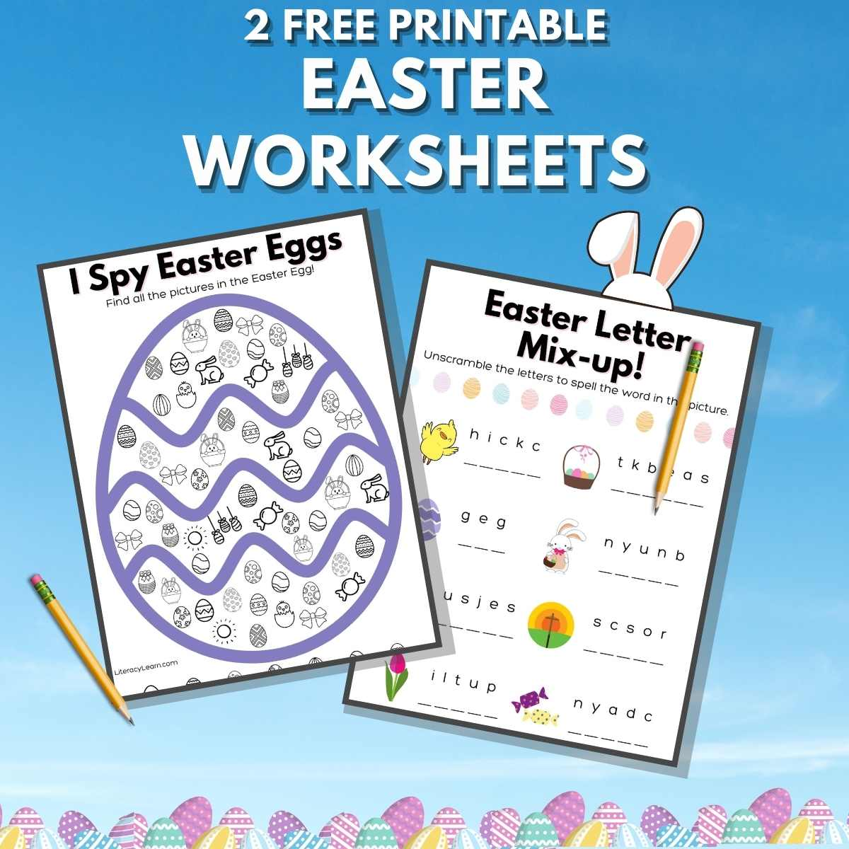 """Pinterest graphic with the worksheets on a bright blue background and the words """"2 Free Printable Easter Worksheets."""""""