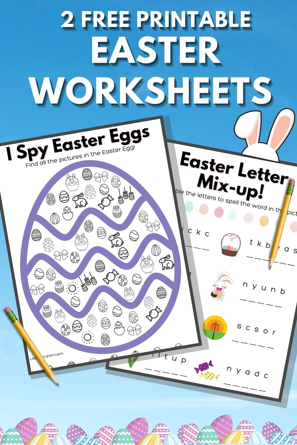 """Graphic with the two worksheets and the words """"2 Free Printable Easter Worksheets."""""""