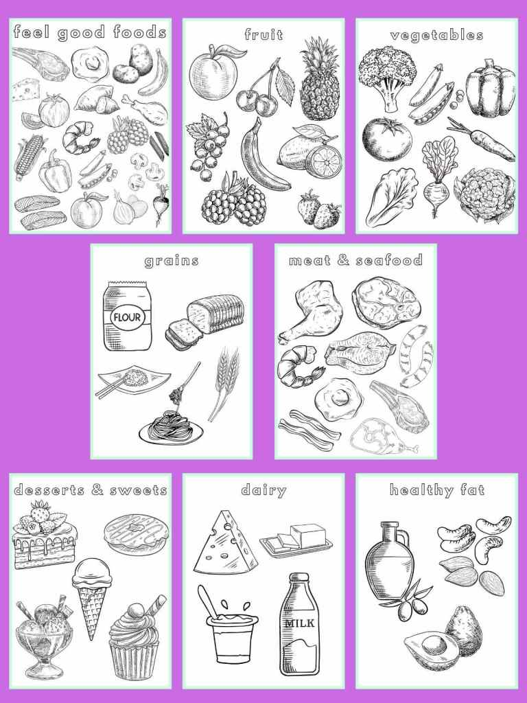 All eight food coloring pages in rows on a bright purple background.