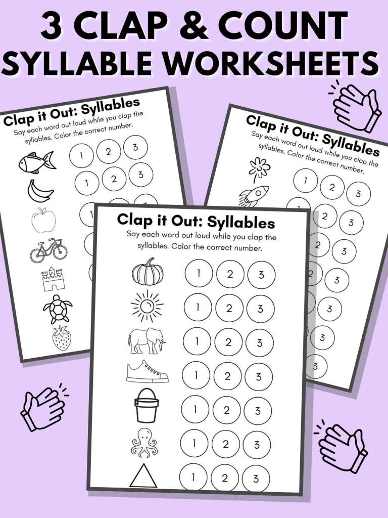 """Three free printable counting syllables worksheets on a purple background with the words """"3 Clap and Count Syllable Worksheets."""""""
